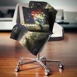 Designart 'Colorful Parrot on Branch' Animal Throw Blanket (71 in. x 59 in.), Blue, DESIGN ART found on Bargain Bro from Overstock for USD $40.69