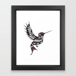 Framed Art Print | Pacific Northwest Hummingbird Coastal Formline Art Colibri by Cascadia Designs - Vector Black - X-Small-10x12 - Society6 found on Bargain Bro from Society6 for USD $31.61