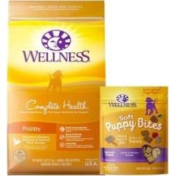 Wellness Complete Health Puppy Deboned Chicken, Oatmeal & Salmon Meal Recipe Dry Food + Soft Puppy Bites Lamb & Salmon Recipe Grain-Free Dog Treats