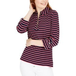 Tommy Hilfiger Womens Polo Top Striped 1/2 Zip found on Bargain Bro from Overstock for USD $23.40
