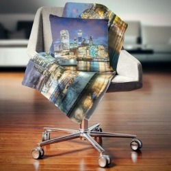 Designart 'Thames River at Night' Cityscape Photography Throw Blanket (71 in. x 59 in.), Blue, DESIGN ART found on Bargain Bro from Overstock for USD $39.51