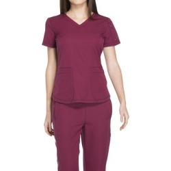 Dickies Medical Uniforms Dynamix-V-Neck Top (Size S) Wine, Polyester,Spandex found on Bargain Bro Philippines from ShoeMall.com for $30.99