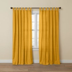 Wide Width Poly Cotton Canvas Tab-Top Panel by BrylaneHome in Ochre (Size 48