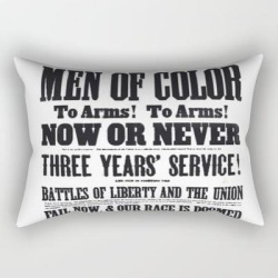 Rectangular Pillow | African American Freemen Of Color Civil War Recruitment Broadside Advertising Poster by Jeanpaul Ferro - Small (17
