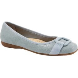 Women's Sizzle Signature Leather Ballet Flat by Trotters in Washed Blue (Size 12 M) found on Bargain Bro Philippines from Roamans.com for $99.99