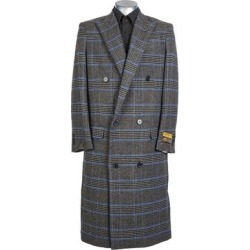 Mens Full Length Wool Double Breasted Overcoat Charcoal Check (44 - Grey), Men's, Gray found on Bargain Bro Philippines from Overstock for $175.00