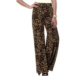 Plus Size Women's Everyday Knit Palazzo Pant by Jessica London in Brown Painterly Cheetah (Size 14/16) found on Bargain Bro Philippines from Ellos for $34.99