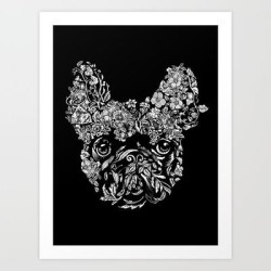 Botanical Frenchie Art Print by Huebucket - X-Small found on Bargain Bro India from Society6 for $20.29