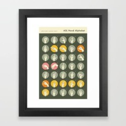 Framed Art Print | Sign Language Hand Alphabet by Jazzberry Blue - Vector Black - X-Small-10x12 - Society6 found on Bargain Bro India from Society6 for $47.99