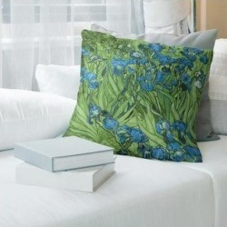 Porch & Den Vincent Van Gogh 'Irises' Throw Pillow (26 x 26 - Green & Blue - Cotton) found on Bargain Bro from Overstock for USD $71.43