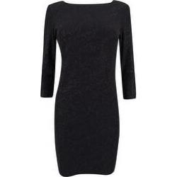 Calvin Klein Women's Glitter Stripe V-Back Sheath Dress - Black (14W)(polyester) found on Bargain Bro from Overstock for USD $56.99