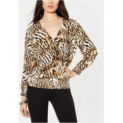 INC Womens Beige Animal Print Long Sleeve V Neck Top Size M (Beige - M), Women's(Rayon) found on Bargain Bro India from Overstock for $25.98