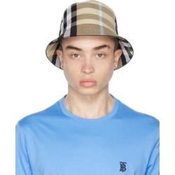 Beige Cotton Check Bucket Hat - Blue - Burberry Hats found on Bargain Bro from lyst.com for USD $349.60