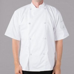Mercer Culinary Genesis® M61022 Unisex Lightweight White Customizable Short Sleeve Chef Jacket with Cloth Knot Buttons - 3X found on Bargain Bro India from webstaurantstore.com for $30.49