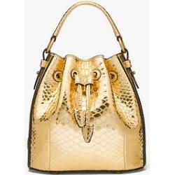 Michael Kors Monogramme Small Metallic Python Embossed Leather Bucket Bag Brown One Size found on Bargain Bro Philippines from Michael Kors for $1090.00