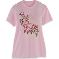 Women's Short-Sleeve Graphic Tee, Soft Pink/Floral L Misses found on Bargain Bro from Blair.com for USD $11.39