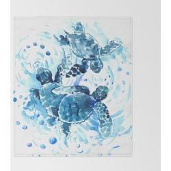 """Three Sea Turtles, Blue Bathroom Turtle Artwork, Underwater Bed Throw Blanket by Surenart - 51"""" x 60"""" Blanket"""