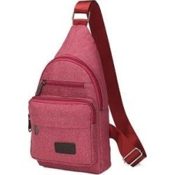 Stitching Shoulder Bag New Wild Multi-Purpose Canvas Chest Bag Men (Pink), Men's found on Bargain Bro Philippines from Overstock for $38.39