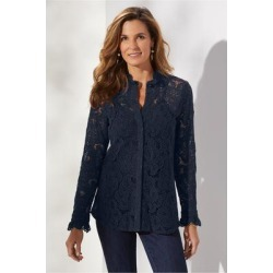 Women's Francesca Shirt & Cami by Soft Surroundings, in Navy size XS (2-4)