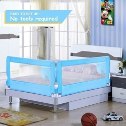 Baby Child Toddlers' Safety Bed Rail Sturdy & Durable Swing Down Guardrail Wall - M (M - Metal - Blue) found on Bargain Bro Philippines from Overstock for $56.98