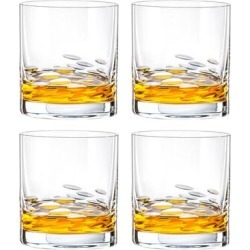 Glass - Double Old Fashioned - Tumbler - Set of 4 - Oval Shaped Leaves Design - Made in Europe by Majestic Gifts Inc. found on Bargain Bro from Overstock for USD $50.15