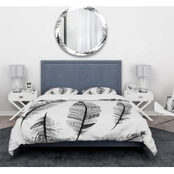 Designart 'Vintage Feathers with tribal patterns' Vintage Bedding Set - Duvet Cover & Shams (Full/Queen Cover +2 Shams (comforter not included)), found on Bargain Bro from Overstock for USD $69.80