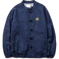 Vintage Single-Breasted Flax Man Plus Size Coat Navy M (L), Men's, Blue found on MODAPINS from Overstock for USD $63.46
