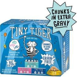Tiny Tiger Chunks in EXTRA Gravy Seafood Recipes Variety Pack Grain-Free Canned Cat Food, 3-oz, case of 24