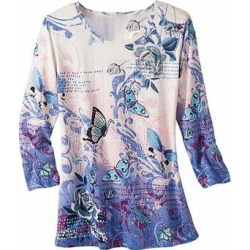 Haband Womens 3/4-Sleeve Print Artista Knit Top, Purple, Size 3XL, 3X found on Bargain Bro Philippines from Haband for $21.99