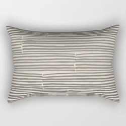 Hand Drawn Light Lines - Charcoal Rectangular Pillow by Urban Wild Studio Supply - Small (17