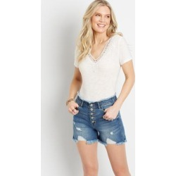 Kancan™ Womens High Rise Destructed Frayed Button Fly 4In Shorts Blue - Size 24 - Maurices found on Bargain Bro from Maurices for USD $37.92