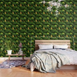 Peel And Stick Wallpaper   Lovebird Parrots In Green Palm Leaves On Black by Popparrot - 2' X 8' - Society6