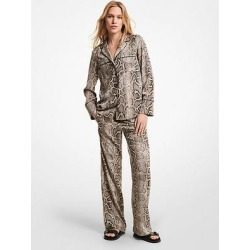 Michael Kors Embellished Snake Crushed Crepe Pajama Pants Natural L found on MODAPINS from Michael Kors for USD $146.25