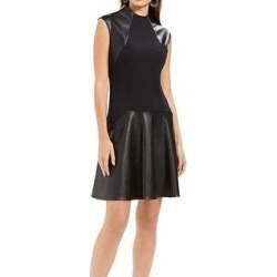 Natori Women's A-Line Dress Faux-Leather Mock-Neck Scuba, Black, 8 (Black - 8) found on Bargain Bro Philippines from Overstock for $99.50