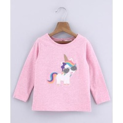 Beebay Girls' Tee Shirts Pink - Pink Unicorn Applique Long-Sleeve Top - Infant found on Bargain Bro India from zulily.com for $4.99