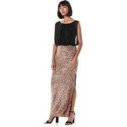 Calvin Klein Blouson Gown with Embellished Detailed Skirt, Black/Dark Gold, 4 (Black/Dark Gold - 4), Women's found on Bargain Bro from Overstock for USD $68.39