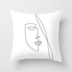 Couch Throw Pillow | Half Face - Abstract Line Art by Marssuart - Cover (16