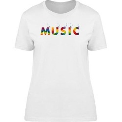 Word Music In Colorful Letters Tee Men's -Image by Shutterstock (M), White found on Bargain Bro Philippines from Overstock for $13.99