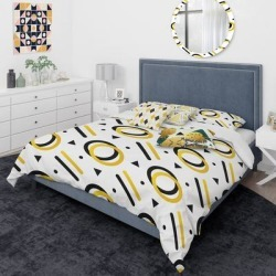 Designart 'Trendy Black And Gold Triangular Pattern I' Mid-Century Modern Duvet Cover Comforter Set (Twin Cover + Comforter + 3 Cushions + 1 Sham), found on Bargain Bro from Overstock for USD $231.79
