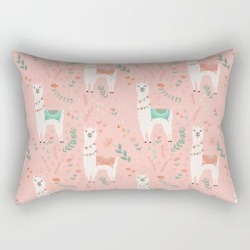 Rectangular Pillow | Lovely Llama On Pink by Lathe & Quill - Small (17