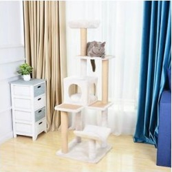 Catry 57-in Curved Perch, Condo & Paper Rope Scratch Post Cat Tree, White found on Bargain Bro from Chewy.com for USD $83.57