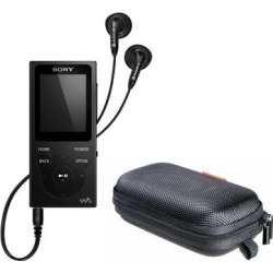 Sony NW-E393 Walkman MP3 Player (4GB, Black) with Hard Carrying Case - 1.69