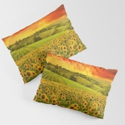 Pillow Sham | Tuscany Sunflowers And Sunflower Fields And Vineyards Italian Red Sunset Landscape Painting by Jeanpaul Ferro - STANDARD SET OF 2 - Cotton - Society6 found on Bargain Bro from Society6 for USD $30.39