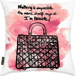 Oliver Gal 'Nothing is Impossible' Decorative Throw Pillow, Black, Oliver Gal Artist Co.(Microfiber, Quotes & Sayings) found on Bargain Bro from Overstock for USD $39.13