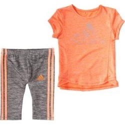 adidas Girls' Casual Shorts SCRM - Orange Logo Seam-Accent Tee & Gray Side-Stripe Mel Bike Shorts - Girls found on Bargain Bro Philippines from zulily.com for $26.99