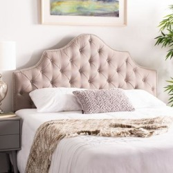 Safavieh Arebelle Taupe Linen Upholstered Tufted Headboard - Silver Nailhead (Queen) found on Bargain Bro from Overstock for USD $163.87