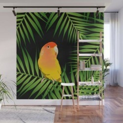 Wall Mural   Lovebird Parrots In Green Palm Leaves On Black by Popparrot - 8' X 8' - Society6