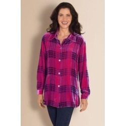 Women's Plaid Velvet Big Shirt by Soft Surroundings, in Fuchsia size 2XS (0)