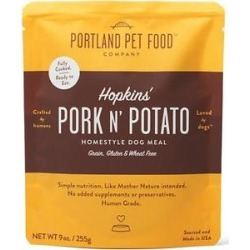 Portland Pet Food Company Hopkins' Pork N' Potato Homestyle Wet Dog Food Topper, 9-oz pouch, case of 4