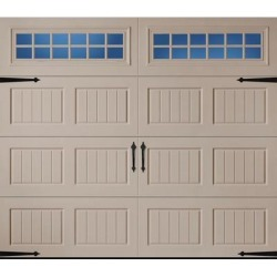 Amarr Hillcrest 3138 Carriage House Garage Door - Short Bead Board Panel Design - Sandtone 8 x 7 Stockton Window found on Bargain Bro from samsclub.com for USD $822.32